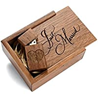 Walnut 32GB USB Flash Drive - Inserted into a Engraved Walnut Box with Raffia grass inside. Laser Engraved Just Married Design!