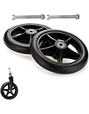 1 Pair Front Wheel for Wheelchair - Solid Rubber Front Rear Caster, 6 7 8 Inch, Wheelchair Accessories Parts, Replacement Wheel for Walkers/Rollators, 0.3inch Bearing