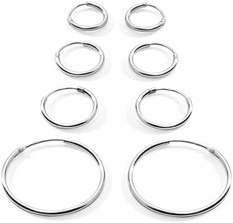 Silverline Jewelry 925 Sterling Silver Small Endless Hoop Earrings for Cartilage/Nose/Lips, 10mm, 12mm, 14mm & 24mm, 4-Pairs