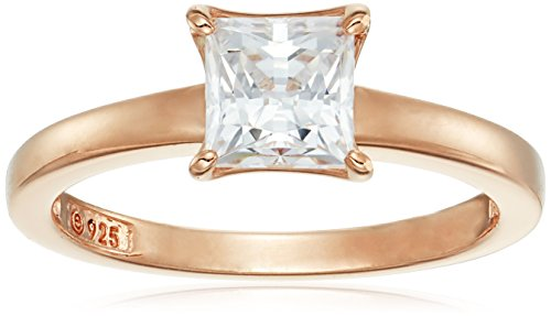 Rose-Gold Plated Sterling Silver Princess-Cut Solitaire Ring made with Swarovski Zirconia (1 cttw), Size 8
