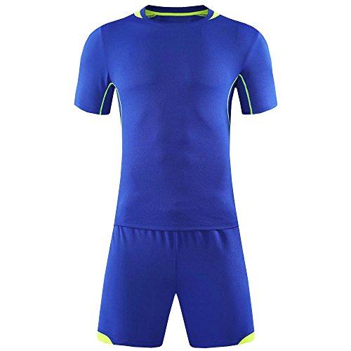 提供された謝る基準KINDOYO メンズ&ボーイズサッカーTシャツ、サッカートレーニングスポーツウェア、サッカーユニフォーム (紺,XL)