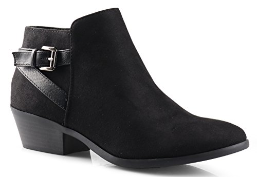 women s round toe faux suede stacked