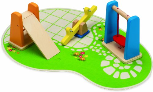 Hape Wooden Doll House Furniture Playground Set and (Dollhouse Swing)