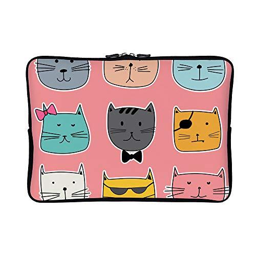 DKISEE Abstract Cute Cat 03 Neoprene Laptop Sleeve Case Waterproof Sleeve Case Cover Bag for MacBook/Notebook/Ultrabook/Chromebooks