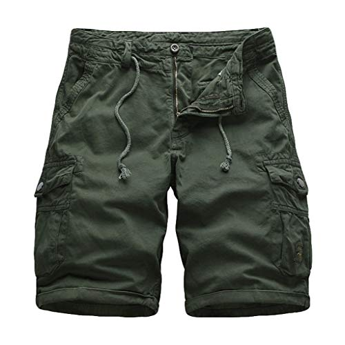 Mens Cotton Loose Fit Multi Pocket Cargo Shorts Outdoor Wear Lightweight Combat Knee Length Short Trousers