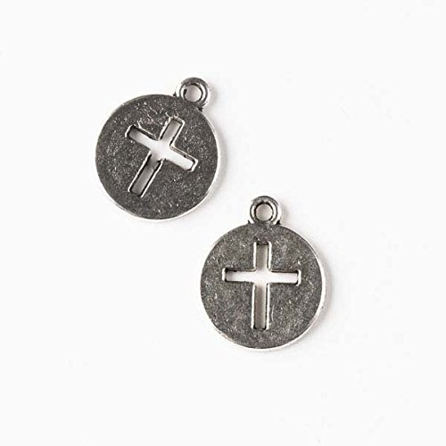 Cross Pewter Charms (Cherry Blossom Beads 14x17mm Silver Pewter Coin Charm with Cut Out Cross - 10 per bag)