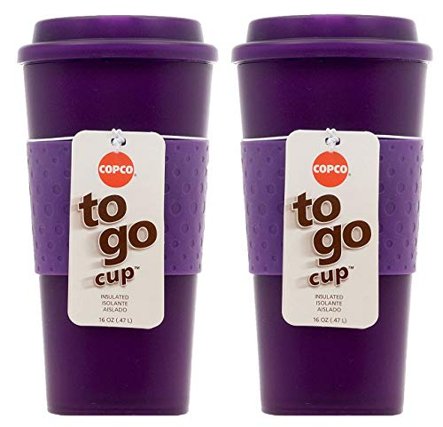 Travel Mugs, 2 Pack, 16-Ounce, Translucent Purple 16 Oz Translucent Travel Mug