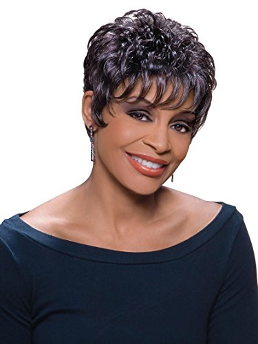 Viola Wig Color 1 Black - Foxy Silver Wigs Short Pixie Cut Chucky Curls Teased African American Lightweight Average ()