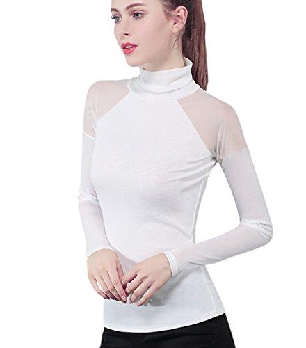 alto Camicetta con collo slim lunghe casual maniche donna Acvip da Top bianco a Sexy zrzqwxv8