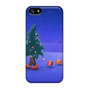 Iphone 5/5s Case Cover - Slim Fit Tpu Protector Shock Absorbent Case (walking Christmas Tree)