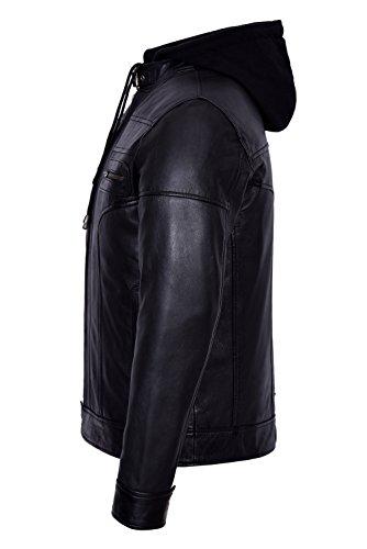 8344 Real Style Casual Smart Designer Capuche Hommes Range Soft Bikers Noir Leather qExUEwTp