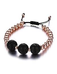 SIVITE Lava Rock Stone Copper Beads Bracelet Essential Oil Diffuser Adjustable Bracelet for Men Women
