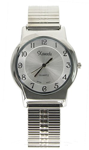 Men's Classic Stretch Band Slim Case Silver Tone Watch for sale  Delivered anywhere in USA