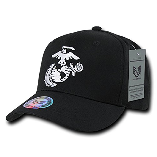 Closure 6 Panel Caps (6 Panel Military Embroidered Cap by Rapid Dominance (US Marine Corps, Black 2))