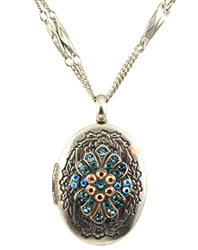 Mariana Silver Plated Blue Suede Shoes Crystal Locket Pendant Necklace