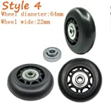Yaphetss 1 Pair Luggage Suitcase Replacement Rubber Wheels (Style 4, 64mmx22mm)