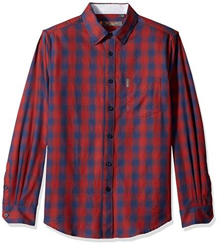 Ben Sherman Men's LS Ombre Plaid Shirt, Wine L