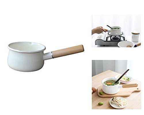 Enamel Sauce Pan Healthy White Enameled Inside Coating Iron Milk Pan and Butter Warmer with Wooden Handle Handy Pot, Two Pour Spouts, 15cm 1-Quart (White) by YumCute Home