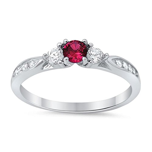 - Blue Apple Co. 3-Stone Wedding Engagement Ring Simulated Ruby Round Cubic Zirconia Three Stone 925 Sterling Silver Choose Color, Size-6