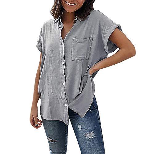 Women Shirt Button Down Short Sleeve Hosamtel Pocket Solid Summer Fashion Casual Elegant Loose Fit T-Shirt Tops Blouse ()