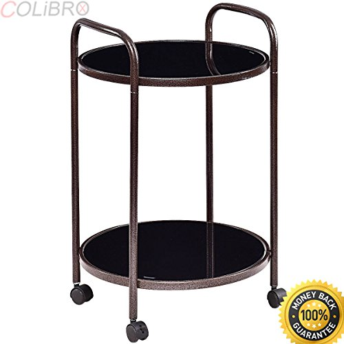 COLIBROX--2-Tier Round Rolling Kitchen Trolley Serving Cart Dining Bar Storage Utility New. rolling serving cart walmart. best rolling serving cart for sale. folding rolling serving cart. (Carts Bar For Sale)