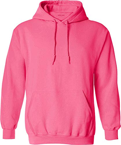 Joe's USA Hoodies - Mens Hooded Sweatshirts-Neon.Pink-M
