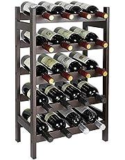 SMIBUY Bamboo Wine Rack, 20 Bottles Display Holder, 5-Tier Free Standing Storage Shelves for Kitchen, Pantry, Cellar, Bar(Dark Brown)