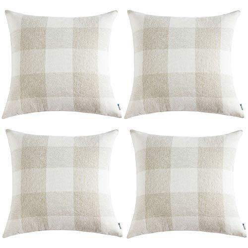 Anickal Set of 4 Farmhouse Decorative Throw Pillow Covers Bu