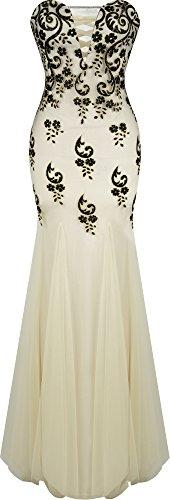 Angel-fashions Women's V Neck Floral Sequin Court Train Mermaid Sheath Dress XLarge Cream