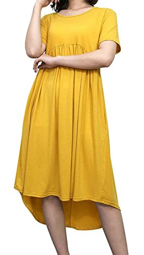 Yellow Short Tang Soft Womens T Swing Solid Pleated Dresses Sleeve Big Color Shirt q6X7dwqn