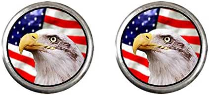 GiftJewelryShop Silver Plated American flag bald eagle Photo Stud Earrings 10mm Diameter
