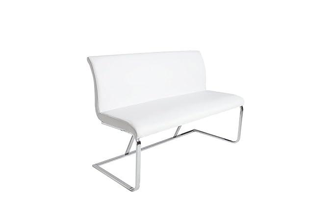 Elegante Design Sitzbank HAMPTON grau 130cm mit R/ückenlehne Strukturstoff