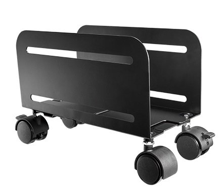 Mount-It! CPU Stand With 4 Caster Wheels, Heavy Duty Steel Computer Caddy with Ventilation and Adjustable Width from 4.87 to 8.5 (Cpu Trolley)