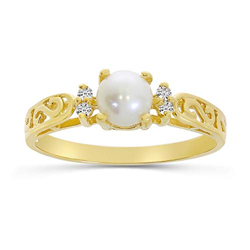 14k Yellow Gold Freshwater Cultured Pearl And Diamond Filagree Ring (Size 6.5)
