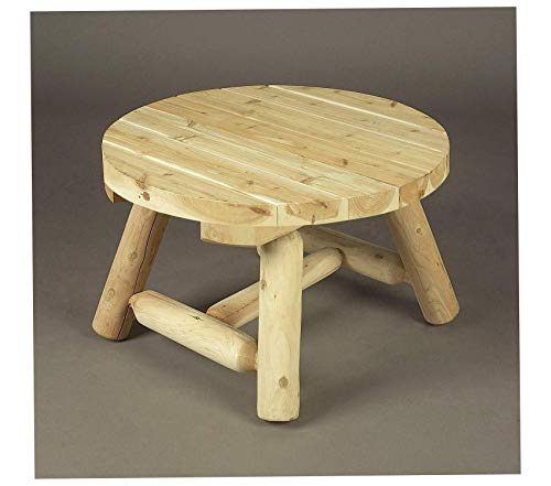 Wood & Style Furniture Log Round Coffee Table Premium Office Home Durable Strong