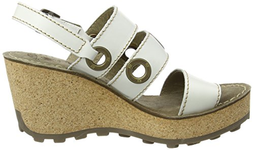 Fly London Donna Guse644fly Sandalo Con Zeppa Largo Bianco 005