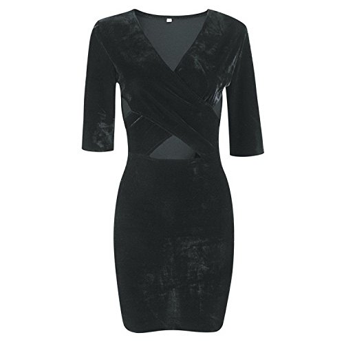 Kebinai Women Sexy Velvet Chest Cross V-neck Half Sleeve Party Bodycon Dress GrayMedium