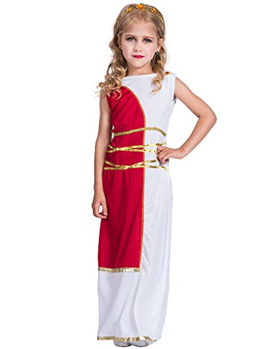 X-COSTUME Halloween Greek Goddess Costume Gown with Headpiece for Girls Children Holly Role Cosplay Dress-up (S) -