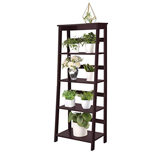 SONGMICS Simple Ladder Shelf, 5-Tier Bookcase, Multifunctional Display Stand for Living Room, Wooden Stand for Sunroom, Espresso, ()
