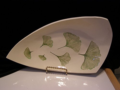 Pressed Plant Pottery, Ginkgo Biloba leaf, shallow bowl, Michigan, natural flora (Pottery Leaf Bowl)