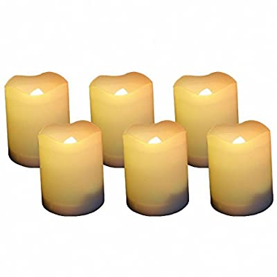 EcoGecko 87111 Indoor/Outdoor Votive Flameless LED Candles with Timer 400-hour Battery Life, Set of 6