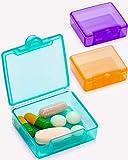 Small Pill Box 3 pcs,Cute Travel Pill Case Portable for Pocket Purse