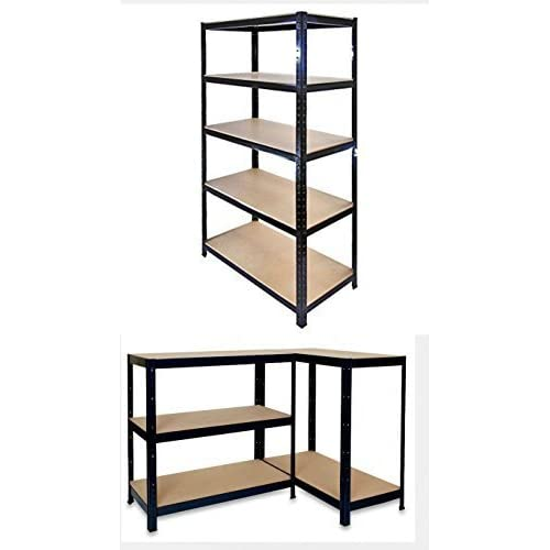 Garden Mile¨ Heavy Duty 5 Tier Garage Racking, Boltless Industrial Racking Shelving ,Greenhouse Staging 150cm x 70cm x 30cm Industrial Strength & MDF boards 180Kgs Per shelf,Perfect Home Storage Solution 1.5m Heigh