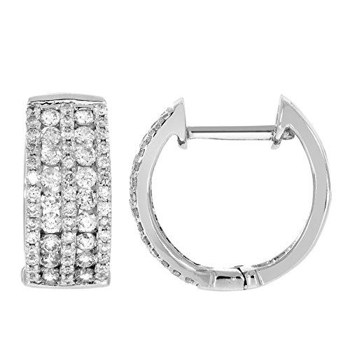 Boucles d'oreilles diamants huggies 0.80 ct tw rondes coupées or blanc 9K