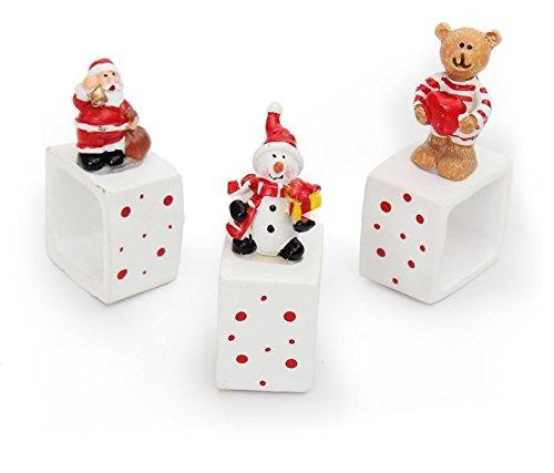 UChic 3PCS Santa Claus Snow Man Bear Christmas Figurine Resin Artware Crafts Desktop Decoration Ornaments Toy Christmas Decor (Nfl Plush Snowman Ornaments)