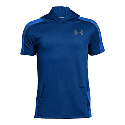 Basketball Hooded (Under Armour Boys Tech Short sleeve Hoodie, Royal (400)/Graphite, Youth Large)