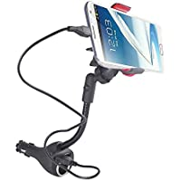 Car Charger Mount, Jiale Universal Car Cradle Dock Station, Mount, Adapter with 2 Rapid USB Car Chargers, Power Outlet and 360 Degree Rotating Gooseneck Holder with Micro USB Cable - (Black/Red)