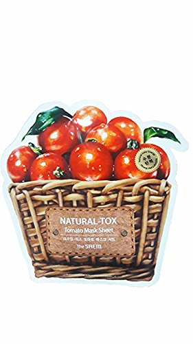 2 Mask Sheets of The SAEM Natural - tox Tomato Mask Sheet (Moisturizing & Firming). (0.7 fl.oz./ sheet.)