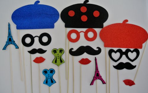 French Photo Booth Props (Parisian Inspired Deluxe Kit Photo Booth Props Mustache on a Stick Mustache bash France se la vie... oh lala )