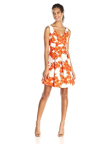Julian Taylor Women's Floral Printed Aline Dress, Orange/White, 6